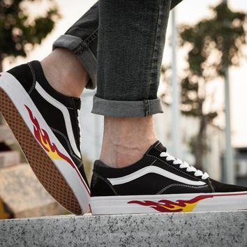 hcxx Vans Old Skool x Thrasher Black And White Flame Low Tops Flats Shoes Sneakers Sport Shoes