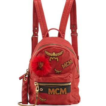 MCM Stark Small Leather Insignia Backpack, Ruby Red