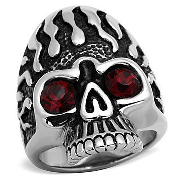 WildKlass Stainless Steel Skull Ring High Polished (no Plating) Men Top Grade Crystal Siam