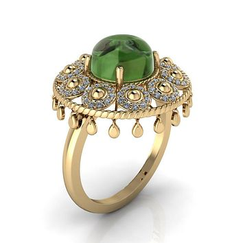 Portia Cabochon Genuine 8mm Nephrite Jade on 14K or 18K Yellow Gold Mystique Peacock Lamp Cocktail Ring