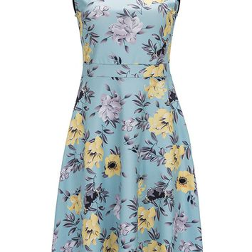 Streetstyle  Casual Courtly Patchwork Floral Hollow Out Round Neck Skater Dress