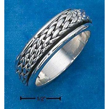 Sterling Silver Ring:  Mens Antiqued Worry Ring With Woven Spinning Band