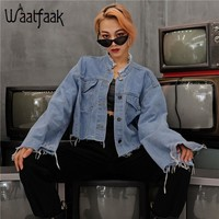 Waatfaak Denim Jacket Women Pocket Button Long Flare Sleeve Autumn Winter Jackets Loose Casual Vintage Tassel Basic Jacket 2018