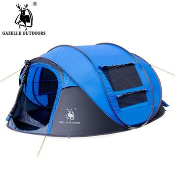 GAZELLE OUTDOORS camping tent Large space3-4persons automatic speed open throwing pop up windproof camping family tent