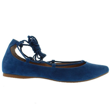 Steve Madden Eleanorr - Blue Suede Fancy Lace-Up Flat