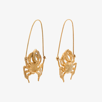 gold tone crab earrings