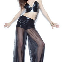Black Leather Bralet Top with Mesh Palazzo Pants Set