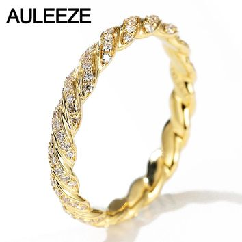 AULEEZE  0.33cttw Real Natural Diamond 18k 750 Yellow Gold Wedding Rings Twist Eternity Bands For Women Jewelry