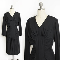 Vintage 1960s Dress - Black Rayon Gathered Fitted Wiggle Cocktail 60s - L Large