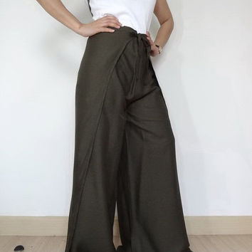 25% OFF Ladies Sensual String Tie (Wrap pants)..Loose And Comfy In  Green Rayon.