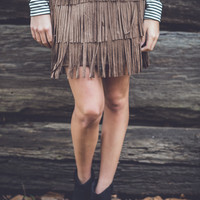 Funky Fringe Skirt in Brown