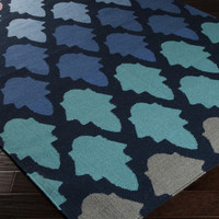 Frontier Area Rug | Blue Geometric Rugs Hand Woven | Style FT461