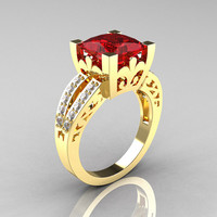 French Vintage 14K Yellow Gold 3.8 Carat Princess Ruby Diamond Solitaire Ring R222-YGDR