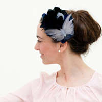 Cumbrae - Feather Fascinator with detail of butterfly