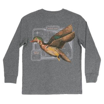 Youth Long Sleeve Vintage Decoy Wood Duck Tee in Midnight Gray by Southern Marsh