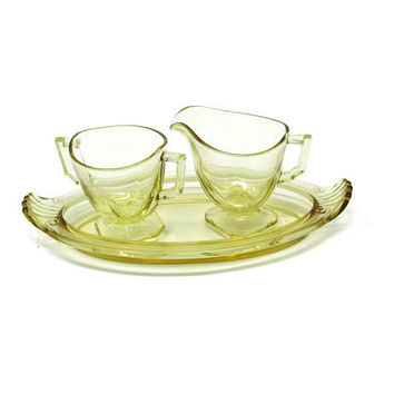 Yellow Depression Glass Cream and Sugar With Tray - Yellow Depression Glass Serving - Rare Depression Glass Boat Shaped Tray