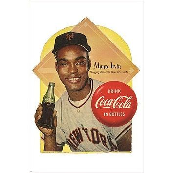 1954 MONTE IRVIN new york giants COCA COLA VINTAGE ad poster BASEBALL 24X36