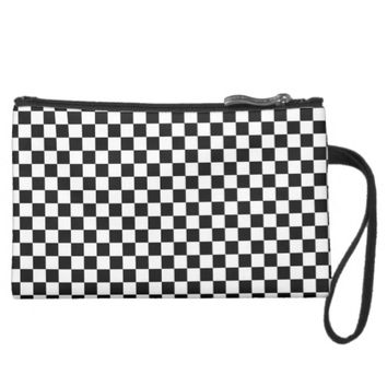 CHECKERBOARD PRINT SUEDED MINI CLUTCH