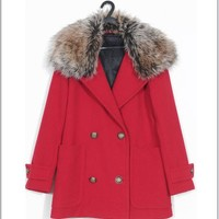Buy Luxurious Detachable Fur Collar Slim Coat Red with cheapest price|wholesale-dress.net
