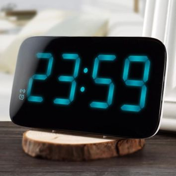 LED Alarm Clock Voice Control Large Electronic Snooze Backlight Desktop Digital Table