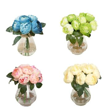 ONE Bouquet 6 Heads Artificial Peony Silk Flower Leaf Home Wedding Party Decor