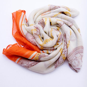 Time Travel Scarf - Taupe Print