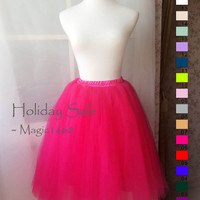 Hot Pink Adult Tutus. Plus Size Tutus. Elastic Tulle Skirt. Tea Skirt. Wedding Bridesmaid Tutus. Fuchsia Crinoline Ballerina Skirts(T1810)