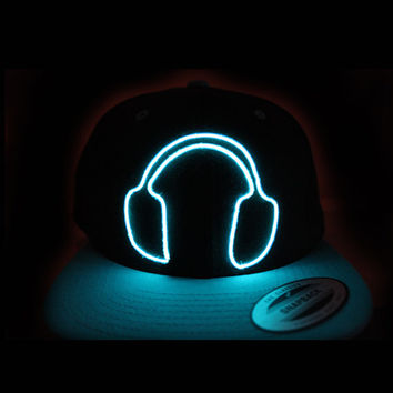 El Wire Snapback Blue Headphones Hat - Halloween Costume - Glow in the Dark - Rave Outfit - Rave Clothing - EDM Hat