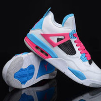 Women Nike Air Jordan 4 IV White Sky Blue Pink Shoes Cheap
