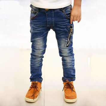 Boys pants jeans Boys Jeans for Spring Fall Children's Denim Trousers Kids Dark Blue Designed Pants