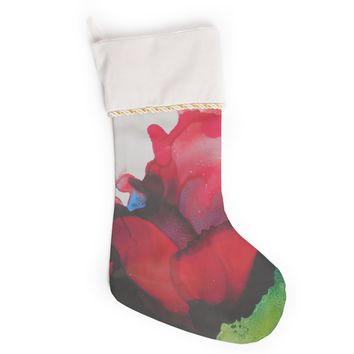 """Carol Schiff """"Ravishing Red"""" Red Green Floral Abstract Painting Watercolor Christmas Stocking"""