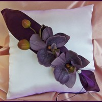Deep purple orchid weddings ring pillow, wedding ceremony accessories