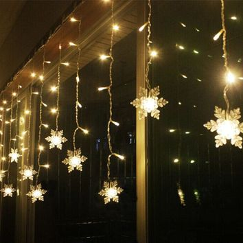 3.8M LED Curtain Snowflake String Lights Led Fairy Lights 8 modes Christmas Lights Wedding Party