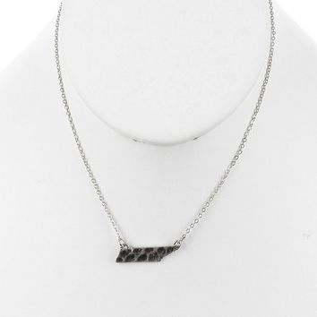 Sliver Matte Finish Metal State Of Tennessee Necklace