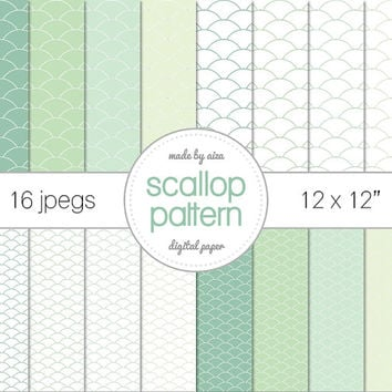 """Mint Green Scallop pattern Digital Paper Pack of 16 - INSTANT DOWNLOAD 12x12"""""""
