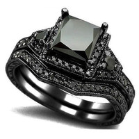 Two in one Black Engagement Ring 5-11 = 1932149572