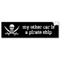 my other car is a pirate ship bumper stickers from Zazzle.com