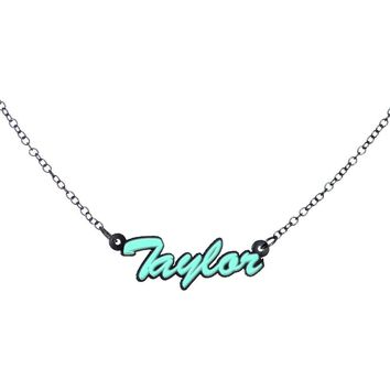 Custom Glow in the Dark Script Personalized Name Necklace