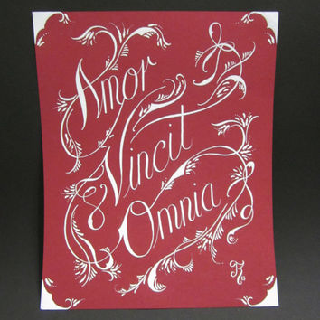 Amor Vincit Omnia - Love conquers All - Love Quote Calligraphy Art