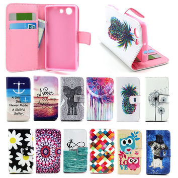 Phone Covers For Sony Xperia Z3 Compact Case Stand Flip Wallet Leather Case Silicon Holder Z3 Mini Smartphone Bag Cartoon Coruja