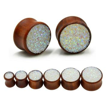 ac DCCKO2Q Synthetic Druzy Mineral Stone Double Flared Saddle Ear Gauge Wood Flesh Tunnel Plug Piercing Body Jewelry Expanders