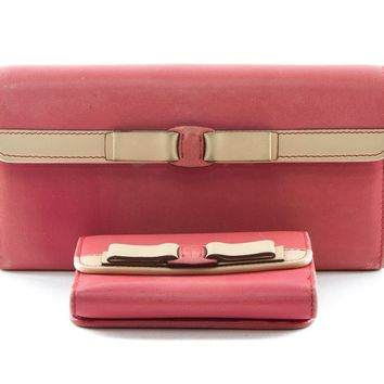 Authentic Salvatore Ferragamo pink calf leather bi-fold long wallet and small tr