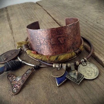 Etched copper cuff, mixed metal bangle set: sterling silver charm bangle, rustic copper bangle, kuchi tribal, boho bangles, trial gypsy