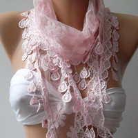 Pink - Shawl / Scarf with Lacy Edge---