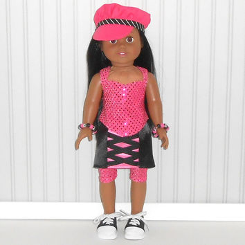 Pink and Black Hip Hop Dancer Halloween Costume fits 18 inch Doll Clothes Dance Outfit Top/Skirt/Leggings with Hat and Bracelet