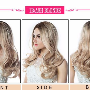 Wignee Hand Made Front Ombre Color Long Blonde Synthetic Wigs