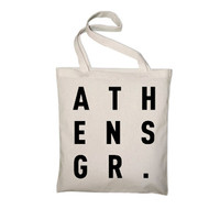 Athens Greece Heavyweight Canvas Greek Tote Bag