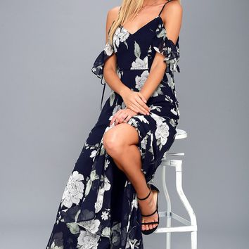 A-Bouquet Navy Blue Floral Print Off-the-Shoulder Maxi Dress
