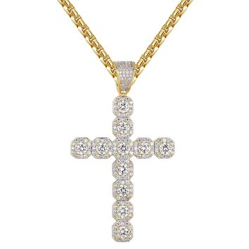 14k Gold Finish Cushion Solitaire Religious Cross Pendant