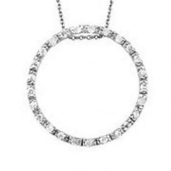 Diamond Circle of Life Pendant Necklace ~ Solid Sterling Silver ~ Gift box